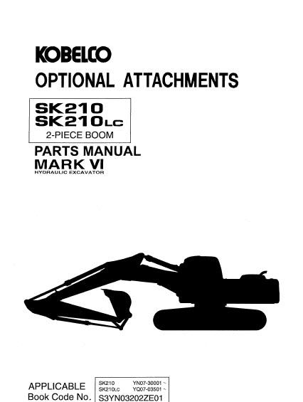 Kobelco Mark VI SK210 SK210LC Parts Manual Hydraulic