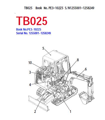 Takeuchi TB025 Parts Manual Excavator