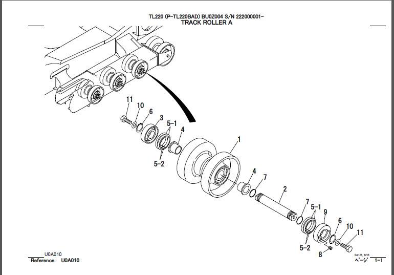 Takeuchi TL220 Parts Manual Track Loader BU0Z004