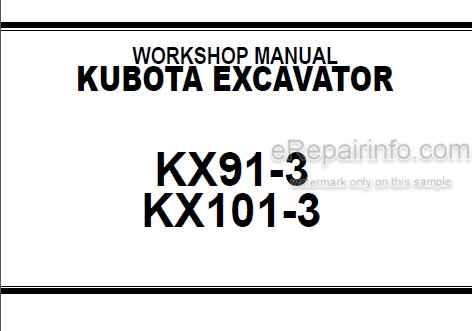 Kubota KX91-3 KX101-3 Workshop Manual Excavator