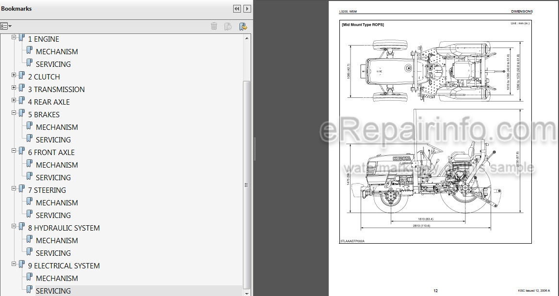 Kubota L3200 Workshop Manual Tractor Erepairinfo Com