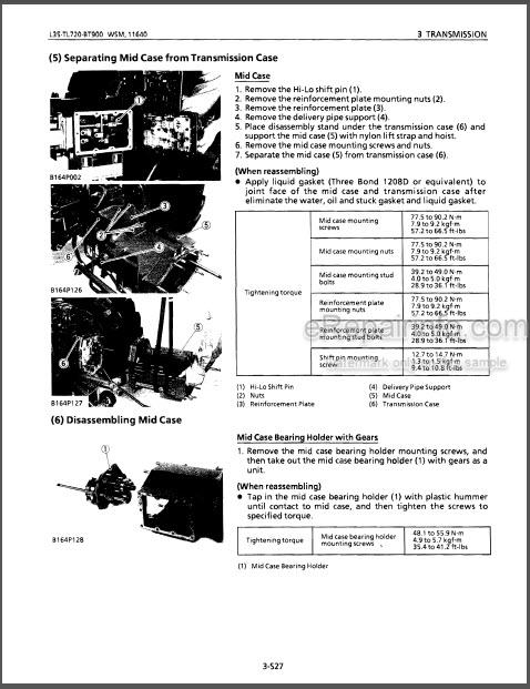 Kubota L35 TL720 BT900 Workshop Manual Tractor Backhoe