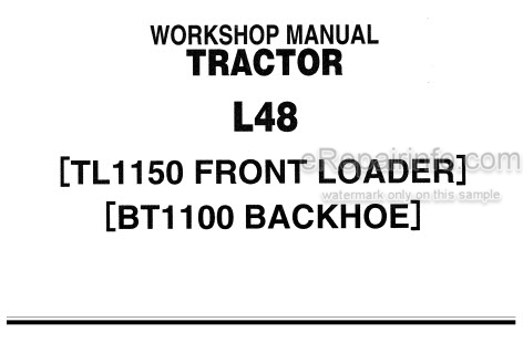 Kubota L48 TL115 BT1100 Workshop Manual Tractor Front