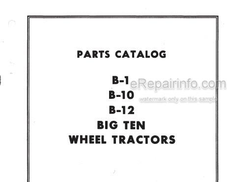 Allis Chalmers B Series-B-1 B-10 B-12 Big Ten Parts