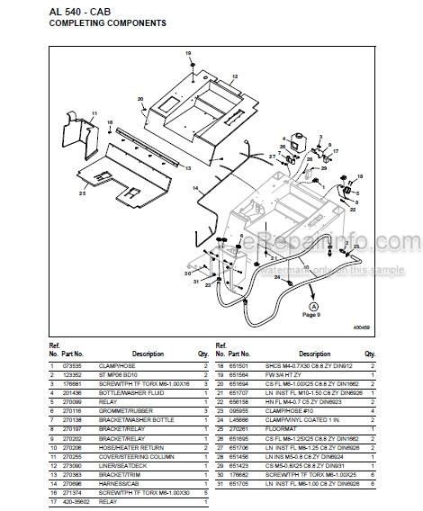Gehl AL540 Parts Manual Articulated Loader 918412