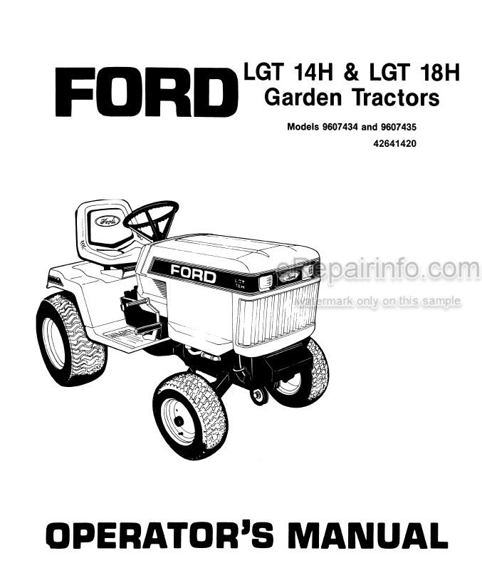 Ford LGT14H LGT18H Operators Manual Garden Tractor