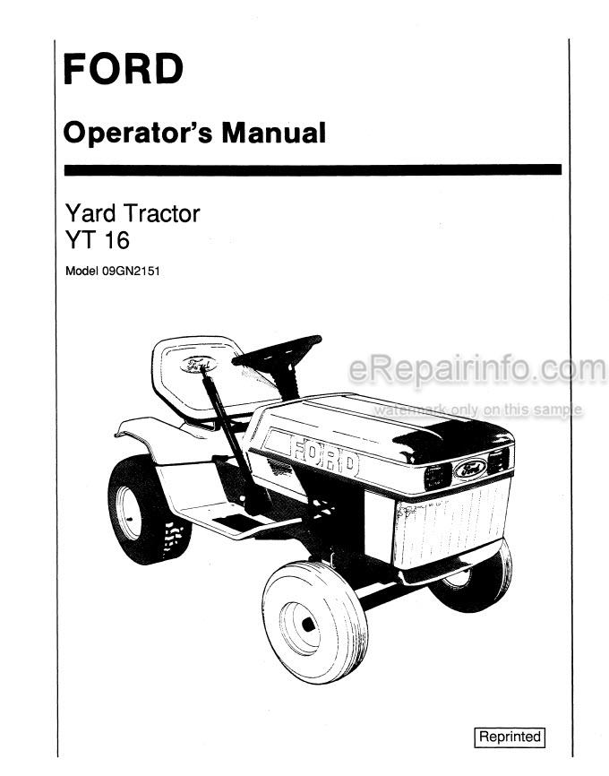 Ford YT16 Operators Manual Yard Tractor 42001610
