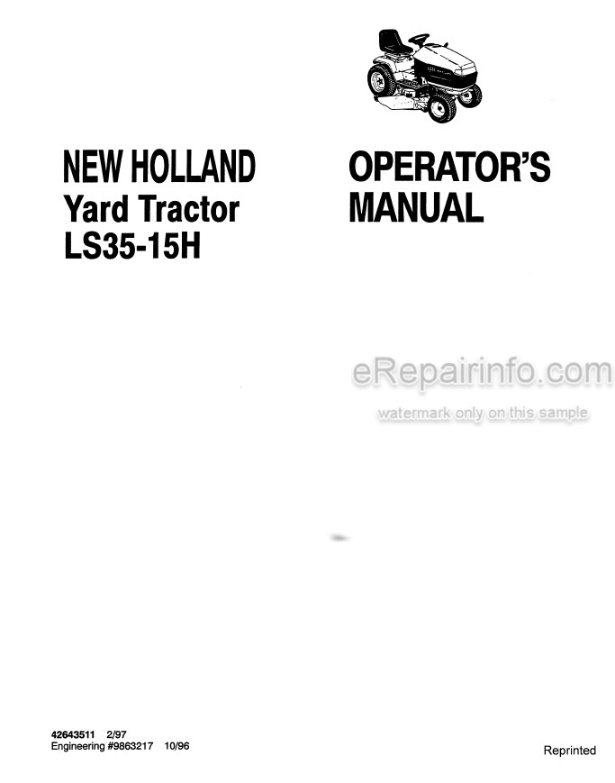 New Holland LS35-15H Operators Manual Yard Tractor