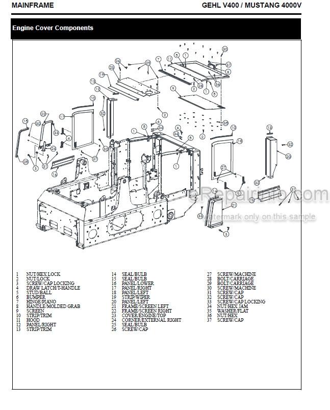Gehl V400 Mustang 4000V Service Manual Skid Steer Loader 50950064 –  eRepairInfo.comeRepairInfo.com