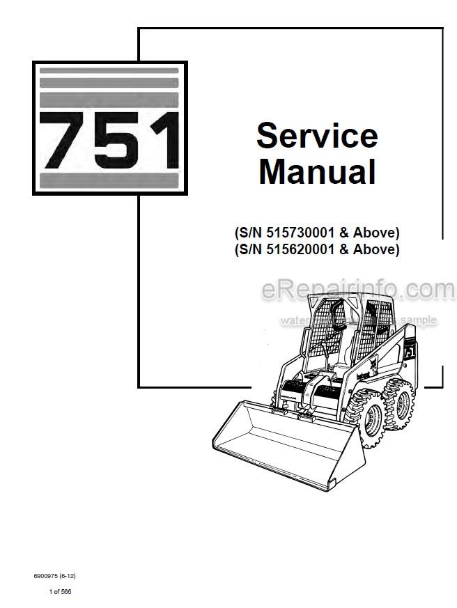 Bobcat 751 Service Manual Skid Steer Loader 6900975