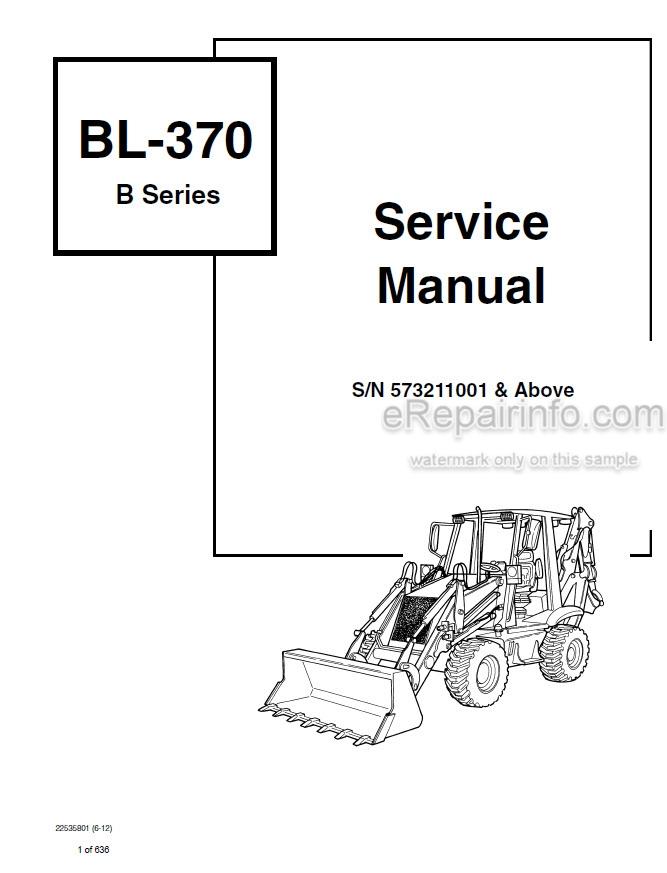 Bobcat BL370 Service Manual Loader Backhoe 22535801