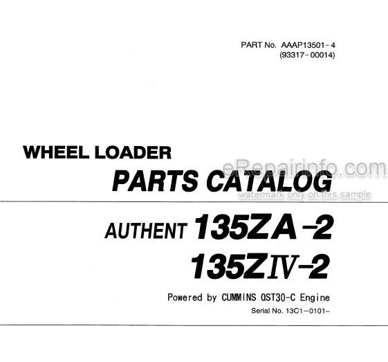 Kawasaki 135ZA-2 135ZIV-2 Parts Catalog Wheel Loader 93317