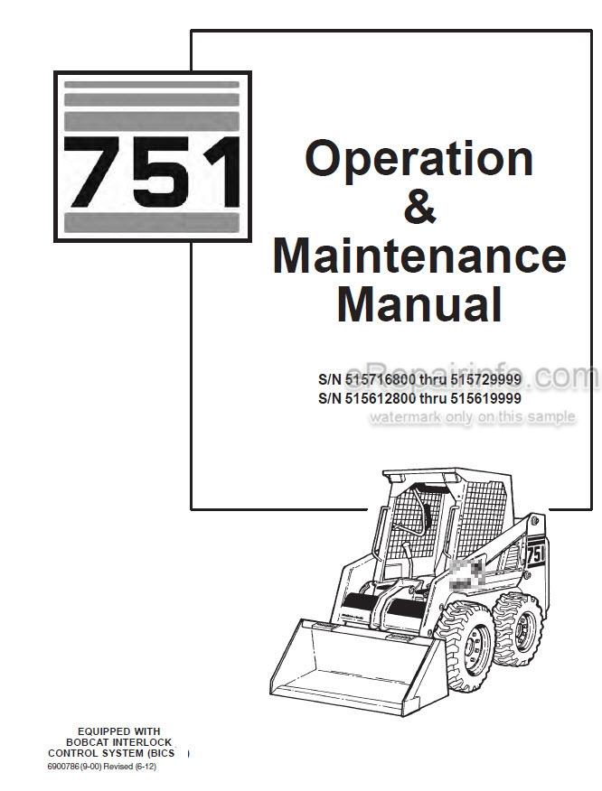 Bobcat 751 Operation & Maintenance Manual Skid Steer