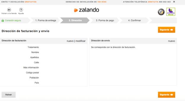 Dirección de facturación y envío - Zalando