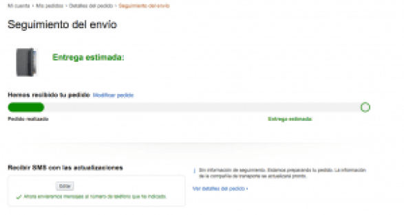 Seguimiento del envío - Amazon