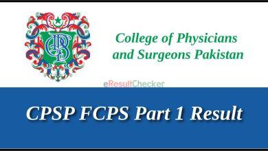 CPSP FCPS Part 1 Result