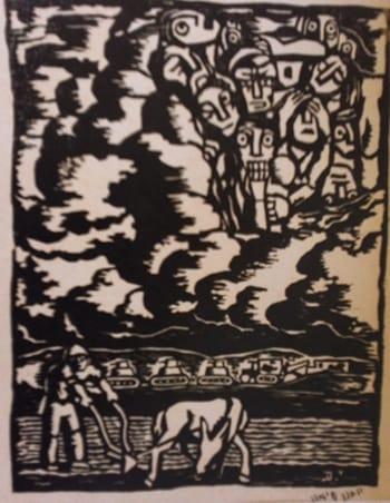 """יוחנן סימון - חריש בימינו אלה, 1943, חיתוך לינוליאום, 21/17 ס""""מ. אוסף גדעון עפרת"""