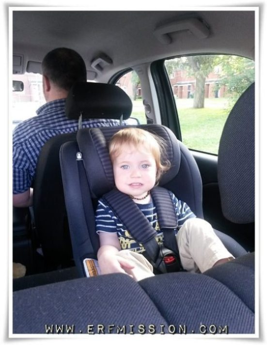 Quite a lot of space between the car seat and the front driver seat.