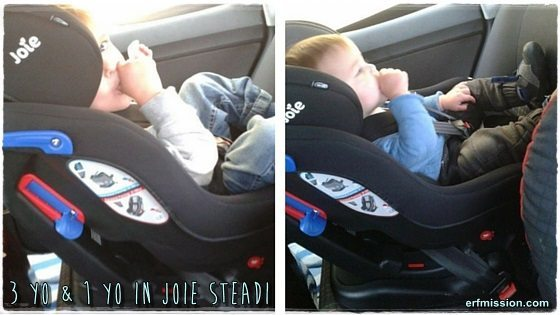 3yo & 1yo enjoying the Steadi in a VW Polo-55 plate.