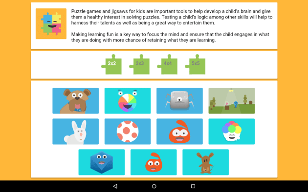 App front page. Lots of different puzzle sizes to choose from and different puzzles to do.
