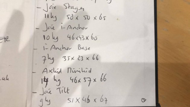 Box sizes & weights