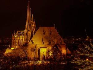 Erfurter Dom und St. Severi bei Nacht