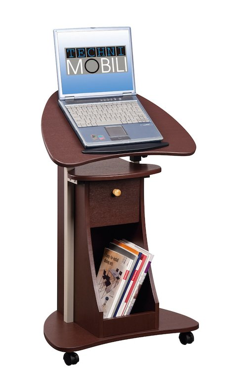 Stand Up Desk Rolling Laptop Cart With Storage