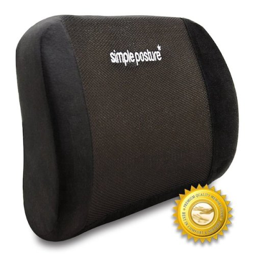 BackGuard - Premium Lower Back Pain Cushion - Proprietary Density Memory Foam Lumbar Cushion Provides Healthy Back Support And Noticeably Fast Lower Back Pain Relief For Most Users