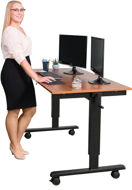 best-standing-desk-60%22-crank-adjustable-height-standing-desk-black-frame-teak-top