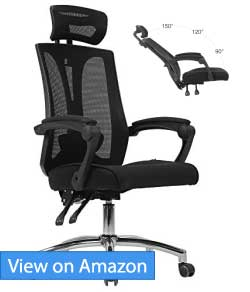 desk chair recliner outdoor metal chairs best reclining office with footrests june 2018 reviews hbada high back mesh review