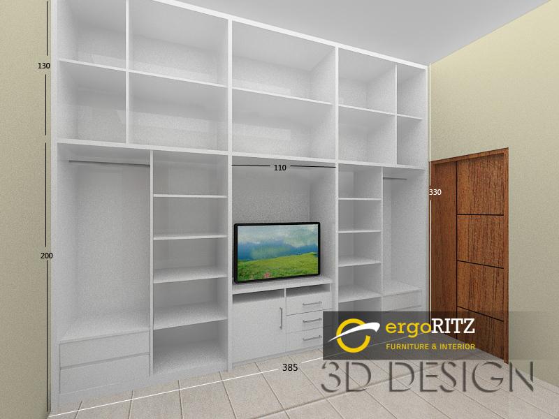 Lemari Pakaian HPL Full Dinding Perumahan Jurangmangu Indah Bintaro  Ergoritz Furniture