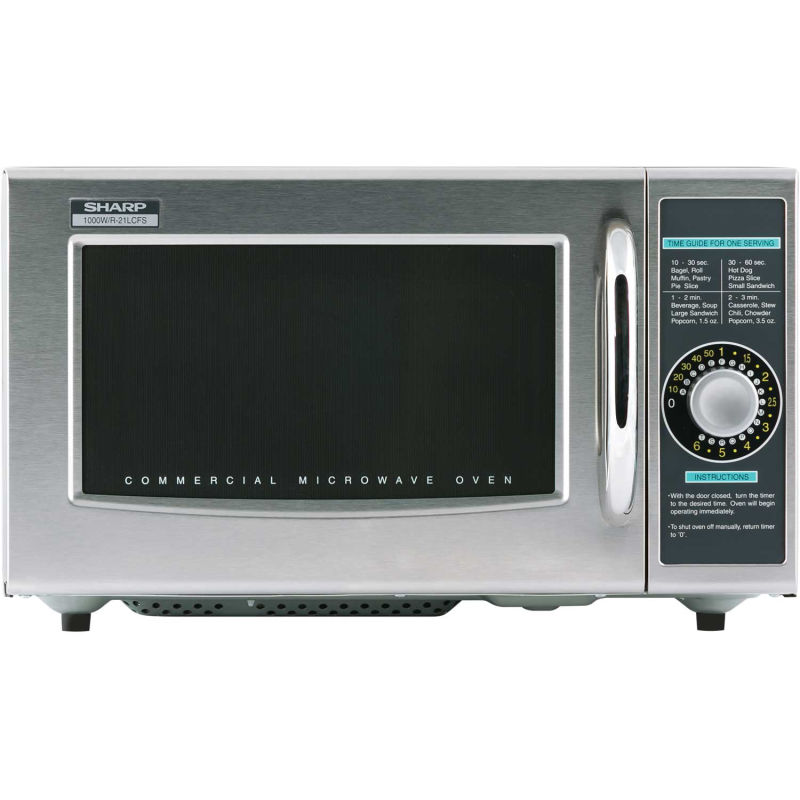 sharp r 21lcfs commercial microwave oven 1 0 cu ft 1000 watt dial control