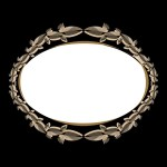 retro style oval frame with stylized leaves in ivory shades