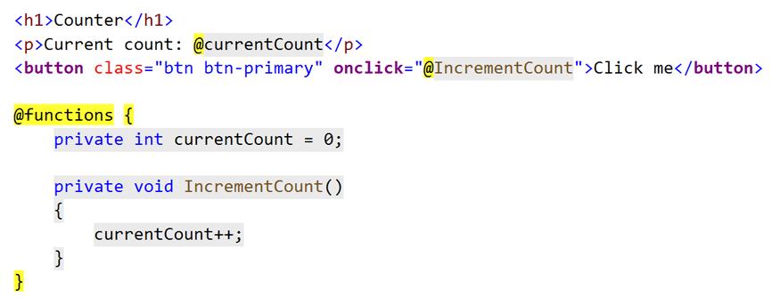 Blazor örnek kod yapısı