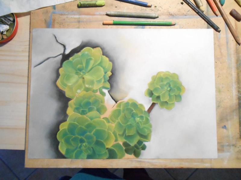 Work in progress di un disegno a pastelli