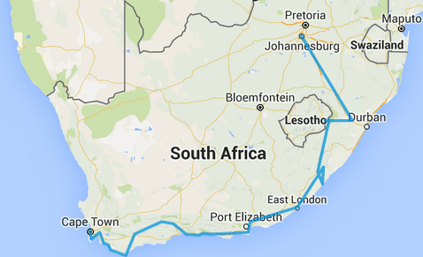 Western Cape on bicycle, Eastern Cape on bakkie and taxi, Natal on train