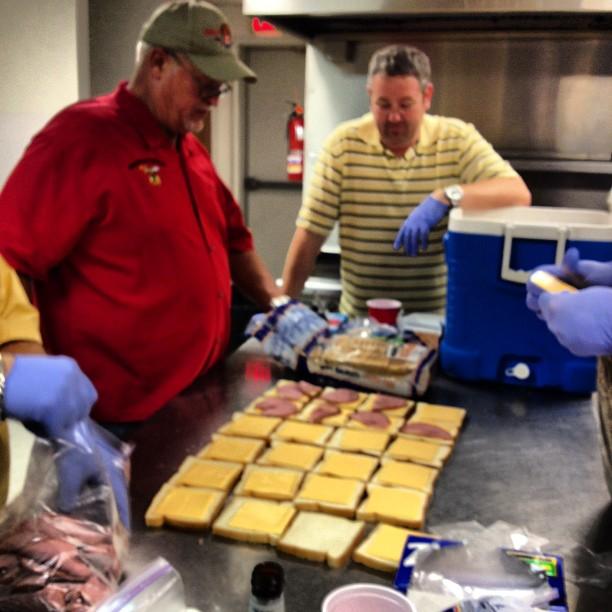 Weve got the sandwich assembly line going!