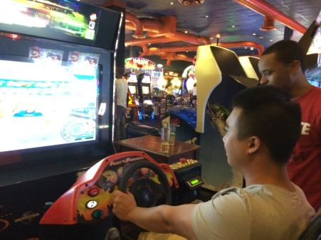 Hieu and Romando at Dave and Busters