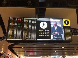Departures board at London Heathrow Airport