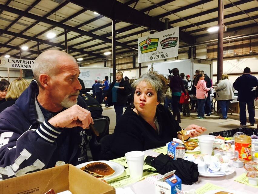 Mom and Chris at Pancake Festival