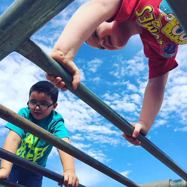 """Climbing on top of the monkey bars after school. They call this """"rock climbing""""."""