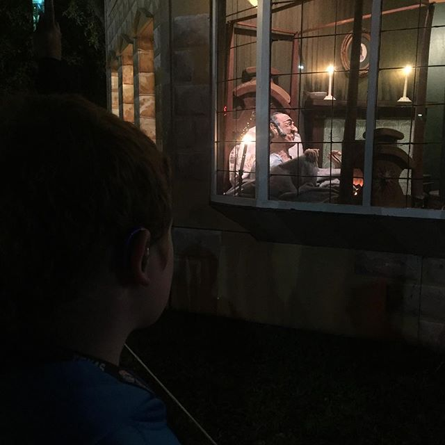 Hero watching the Mr Scrooge display at Fantasy of Lights.