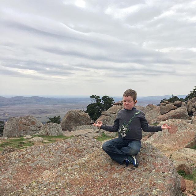 "Hero ""meditating"" on top of Mt Scott."
