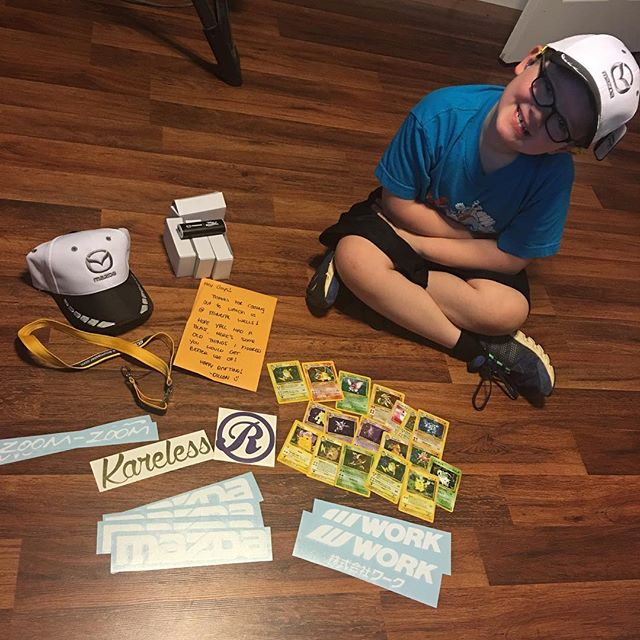 Hero got a package from our buddy @dillontonsiracing! Hero was pretty stoked for all of the swag. Thanks Dillon 😄