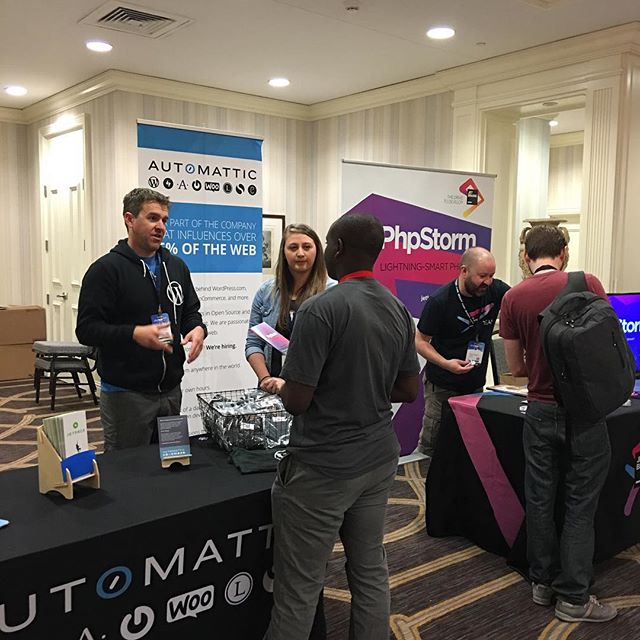 @timmycrawford and @alexiskulash at the #automattic booth at #phptek. Come chat with us about working at Automattic. 😀