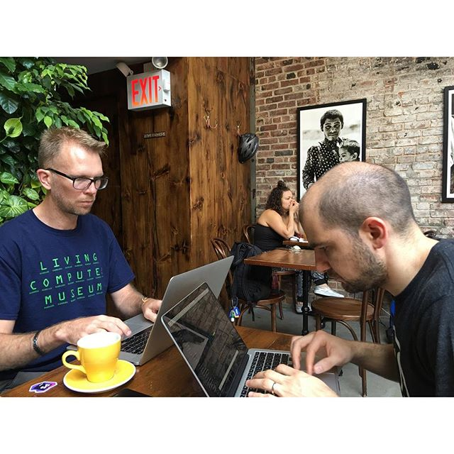 Coworking at a coffee shop named Devocion today.