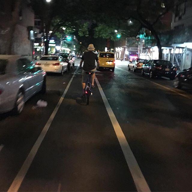 Miguel biking in Manhattan
