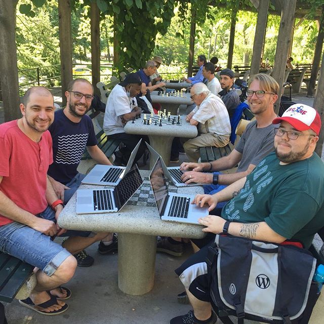 Poseidon working at the chess tables in central park.