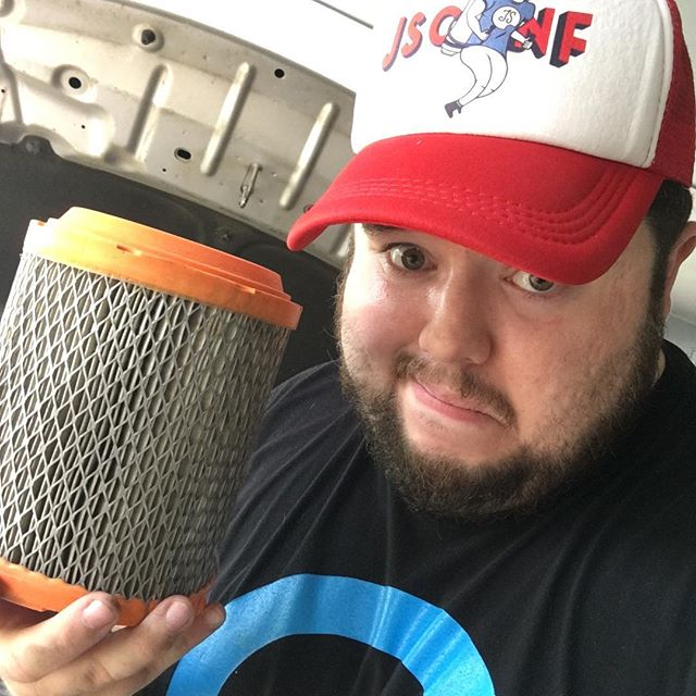 Replaced this dirty air filter in Sara's Jeep. Turned out to be pretty easy.