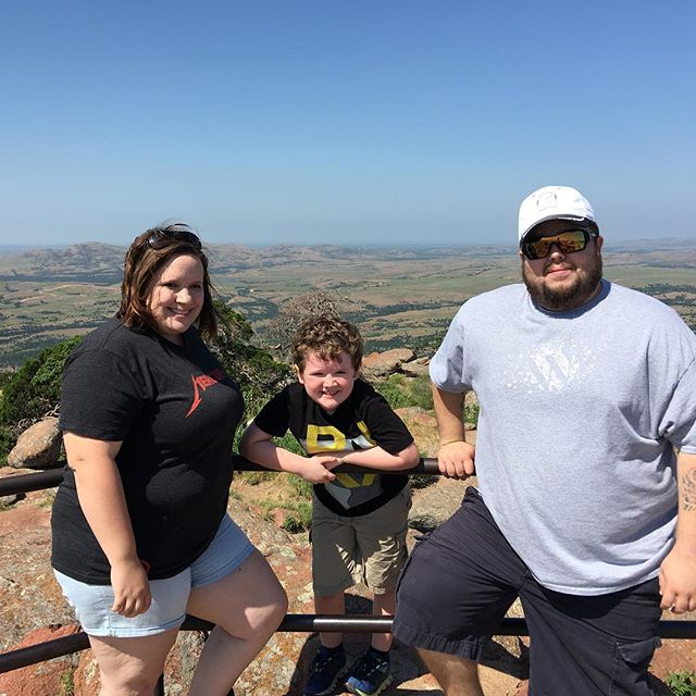 Family picture on top of Mount Scott